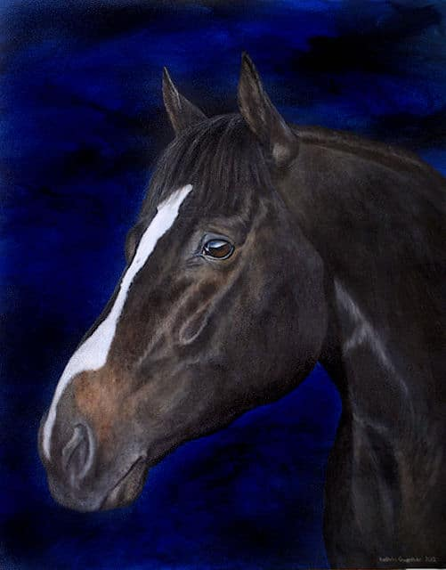 Alfred Nobel, stallion, Acrylic painting, Kathrin Guenther, web file