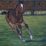 Thoroughbred foal painting by Kathrin Guenther