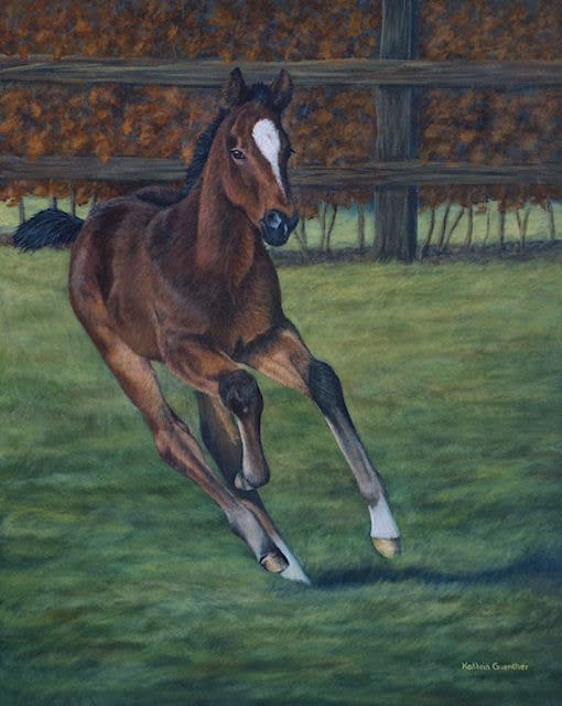 Chasing the sun, galloping foal, acrylic art, Kathrin Guenther, web file