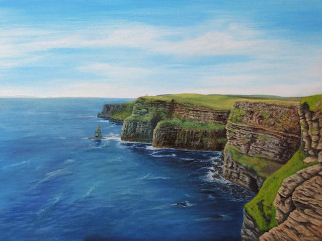 Cliffs of Moher painting by Kathrin Guenther, acrylic painting, landscape art
