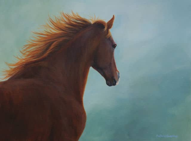 horse, mare, thoroughbred, running, Kathrin Guenther, art, painting, acrylic
