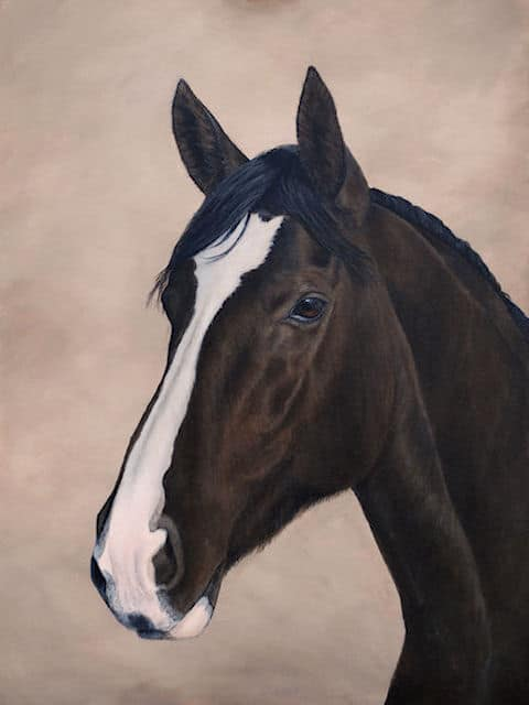 horse portrait painting by Kathrin Guenther, acrylic painting, mare, equine art