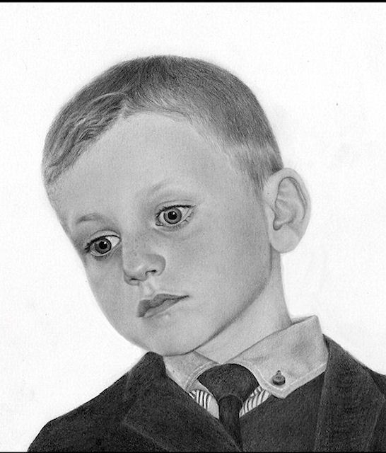 drawing of a boy by Kathrin Guenther, graphite art, portrait art