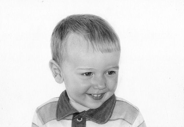 Little boy drawing by Kathrin Guenther, graphite drawing