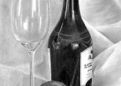 bottle and glass still life graphite sketch Kathrin Guenther web file