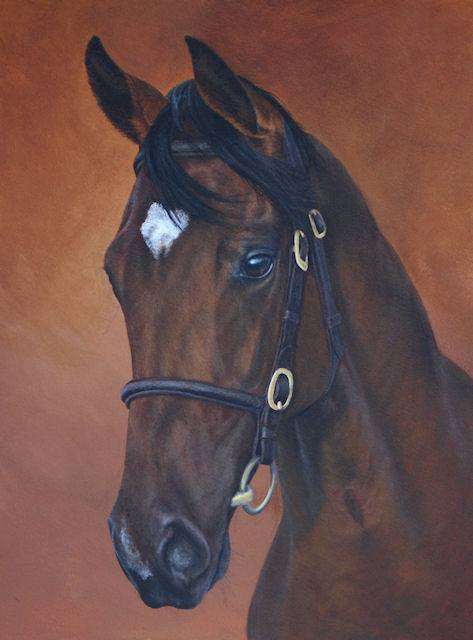 A Thoroughbred yearling painting by Kathrin Guenther, acrylic painting, equine art