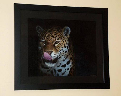 Jaguar painting original framed by Kathrin Guenther