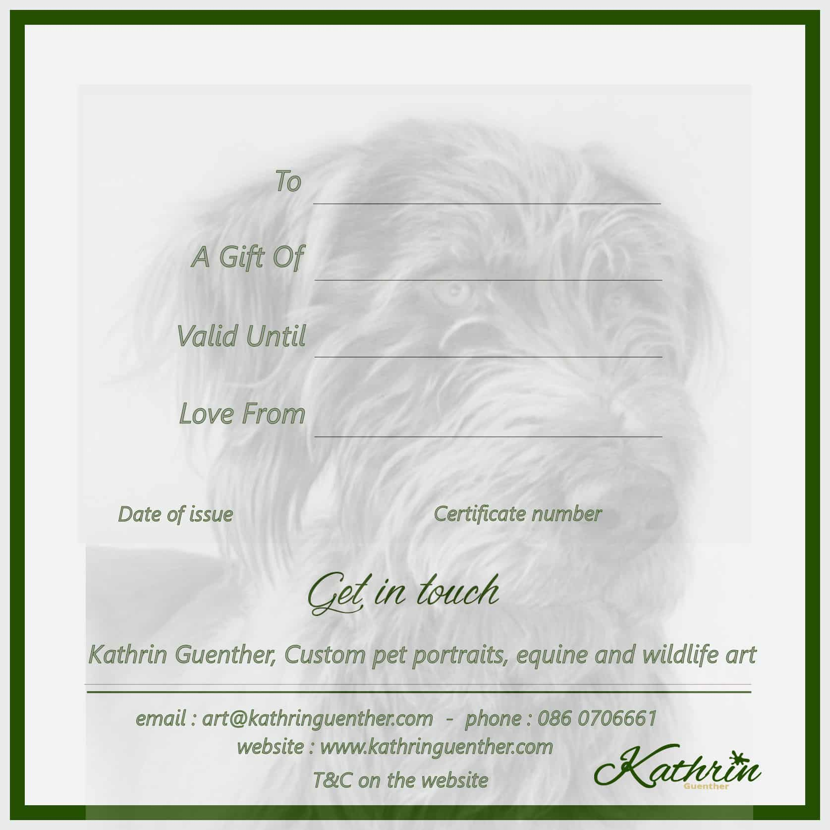 gift voucher wildlife art from KathrinGuenther artist