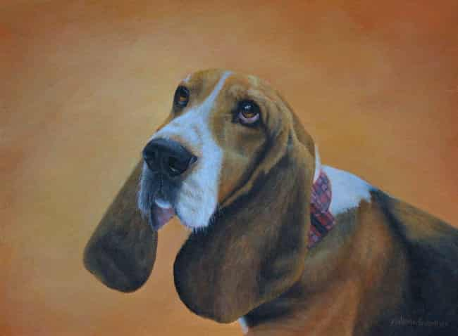 Beagle portrait painting by Kathrin Guenther, acrylic painting, pet painting