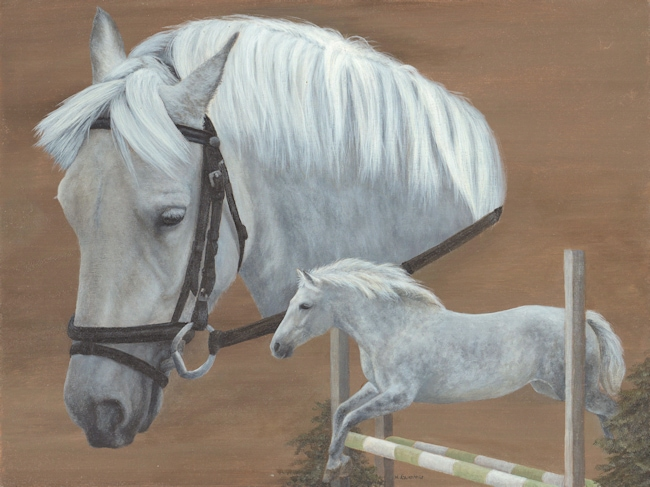 Grey pony painting by Kathrin Guenther, acrylic painting, equine art