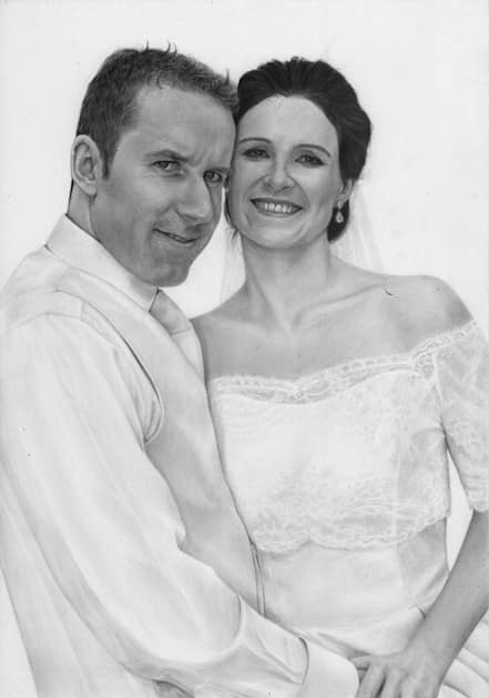 wedding portrait drawing by Kathrin Guenther, graphite art, portrait art