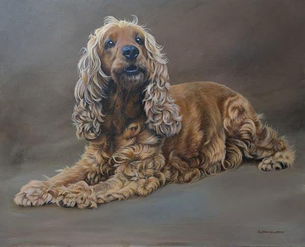 Cocker spaniel painting by Kathrin Guenther, acrylic painting, artist, pet portraitraits